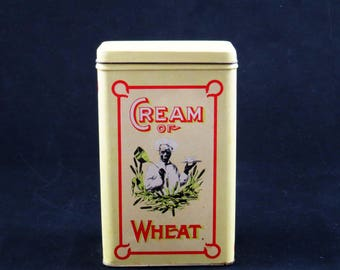 "Vintage CREAM of WHEAT TIN  / 7"" Tall 1984 Commemorative Retro Kitchen Tin from Hong Kong / Housewarming  Gift Christmas Gift Birthday Gift"