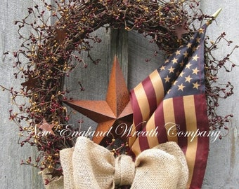 ON SALE Americana Wreath, Patriotic Wreath, Fourth of July Wreath, Memorial Day Wreath, Veteran's Day , Rustic Patriotic Wreath, Tea Stained