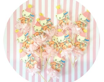 Pink Kitten Cupcake Toppers/Baby Shower/Childs Birthday