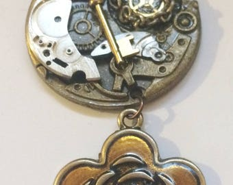 Flower Bling Steampunk Necklace, Gear, Cog