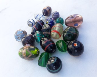 Glass Bead Mix, Mixed Sizes and Shapes, Indian Glass Beads, Grab Bag