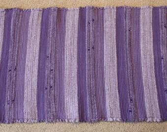 Handwoven Rag Rug: Purple, Lilac, Lavender STRIPES  - 43 inches....(#139)