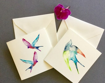Swallows card, watercolour birds, occasion card, valentines day, anniversary