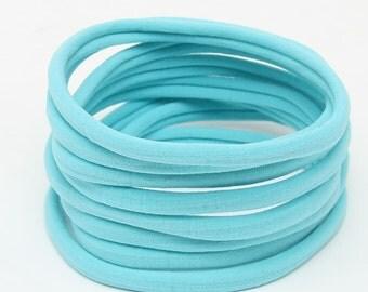Wholesale Nylon Headbands, Nylon Headbands, Aqua Blue, Soft Headbands, headbands, One size fits all, Skinny Headbands, Headband supplies