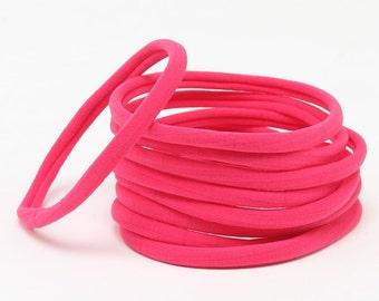 Wholesale Nylon Headbands, Nylon Headbands, Hot Pink, Soft Headbands, headbands, One size fits all, Skinny Headbands, Headband supplies