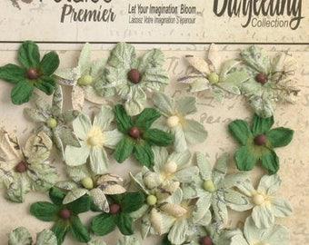 Soft Green paper flowers tiny wild mini blossoms 1481-130 (24 pcs) wedding invitation embellishment tiny paper crafting flower scrapbooking