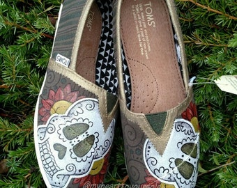 Price includes shoes. Sugar Skull hand painted TOMS