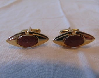 vintage ANSON  goldstone cufflinks gold signed