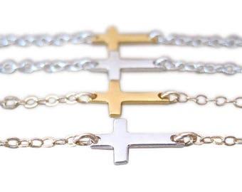 Sideways Cross Bracelet - Cross Bracelet - Silver Cross - Gold Cross - Layering Bracelet
