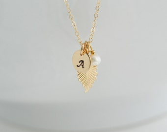 Gold Leaf Necklace, Feather Necklace, Initail Charm, Fall Wedding, Bridesmaid Gift