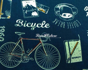 Bicycle tour, dark blue, 1/2 yard, pure cotton fabric