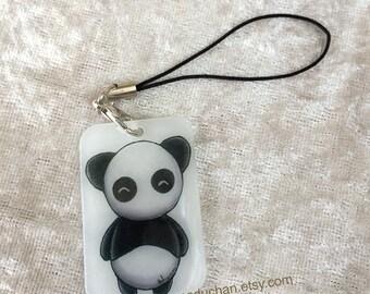 Cute Semi Transparent Chibi Panda Shrink plastic phone charm