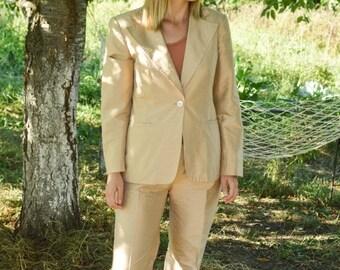 SALE Vintage silk pants and suit two piece set 80s silk suit MARELLA