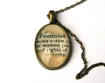 Everyday jewelry. Feminist gift. Upcycled necklace. Word pendant. Dictionary jewelry. Inspirational gift. Feminist jewelry. Word art gift.