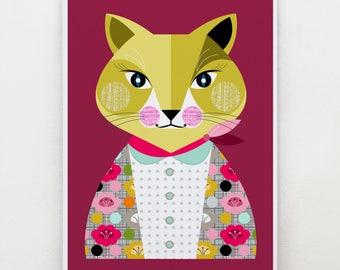 Lady cat, print