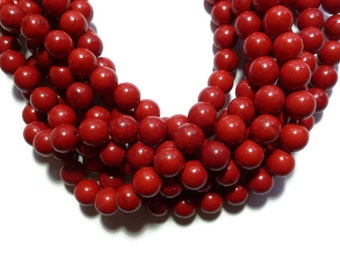 Cherry Red Howlite - 12mm Round Bead - Full Strand - 35 beads - Scarlet Crimson - Synthetic Turquoise