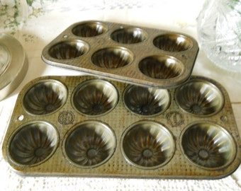 Vintage Metal Ekco and Ovenex Muffin Tins (1) 8 Count (1) 6 Count Vintage Kitchen Supplies Baking Supplies