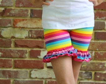 Rainbow Ruffle shorts - Counting Rainbows - Striped knit ruffle shorts in a rainbow of colors - FREE SHIPPING