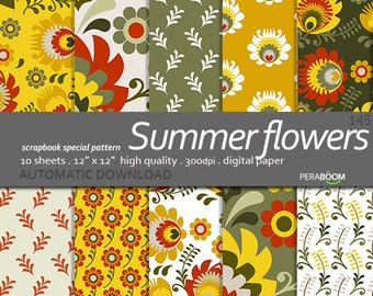 Summer digital paper Summer flowers Polish folk design, patterns, floral background, yellow flowers, flower pattern, green, floral, ethnic