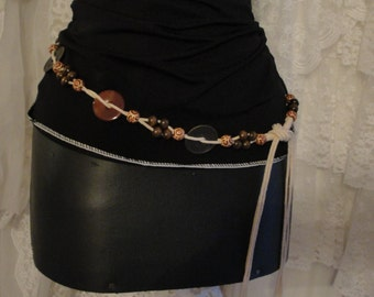 Vintage macrame beaded belt, gypsy hippie, boho, bohemian, gypsy belts, free people, fringe