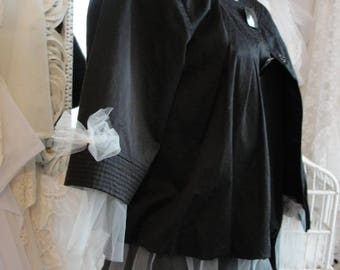 Short black jacket with tulle, big buttons, upcycled boho chic, french chic, Paris
