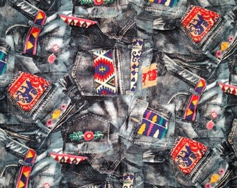 1990's Denim Design Fabric . COTTON . Native American . Tribe . 90s . Skater . Tomboy . DIY Sewing Material . Yard C. S. Shamash and Sons