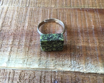 Natural Stone Ring - Green and Black - Granite Stone - Adjustable band