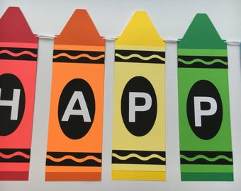 Happy Birthday Banner - Crayon Birthday / Art Party - Rainbow Colors Happy Birthday Banner