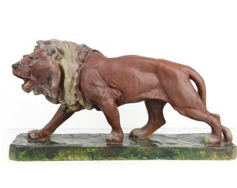"Lion, Chalkware, statue, large, 26"", lion figurine, lion statue, chalkware statue, chalk ware, Hollywood Regency"