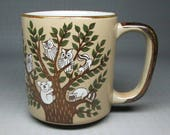 Pottery mug with owls - koala , raccoon and squirrels possibly Otagiri
