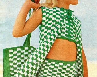 1960's Little Girl Checked Swimsuit Coverup & Tote Crochet Instant Download PDF Pattern