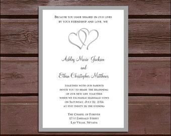 SALE! Hearts Wedding Invitations Set.  Valued at over 600 dollars