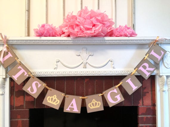 itu0027s a girl princess baby shower decorations pink and gold baby shower garland its
