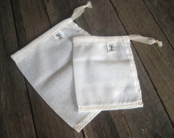 farmers market bags, veggie bags, eco friendly 2 pack CREAM BEIGE // handmade from repurposed curtains // recycled produce bags, eco bags