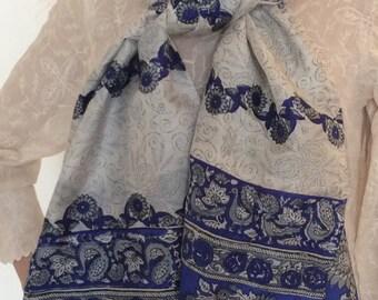 Printed grey,royal blue pure silk stole/scarf/silk shawl/silk dress wrap/silk head wrap