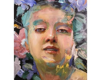 Original Oil Painting on paper, Figure painting, Original Figure painting,  Portrait of a young woman, Wallflower 11 by 14 inches