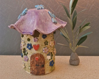 Purple and green Fairy House tealight holder  -  Colorful ceramic votive holder - Candle luminary - New home gift - Home decor