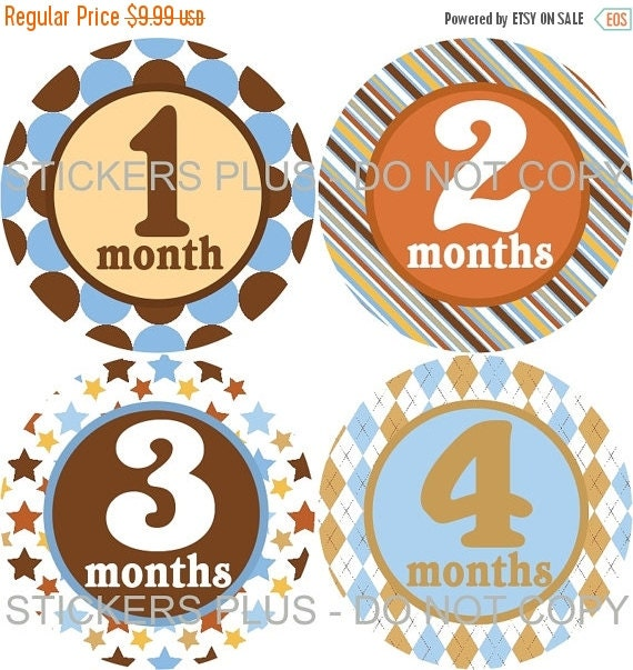 SALE Baby Boy Monthly Milestone Stickers Baby Month Stickers Plus FREE Gift Blue Brown Rust Gold Stripes Dots Stars Argyle Baby Age Stickers