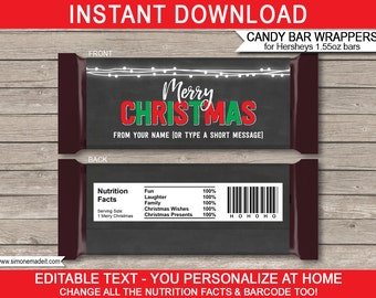 Christmas Candy Bar Wrappers - Christmas Chocolate Labels - Printable Christmas Gifts - Chalkboard - INSTANT DOWNLOAD with EDITABLE text