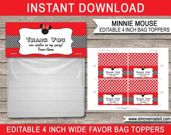 Minnie Mouse Favor Bag Toppers - Minnie Mouse Theme - Birthday Party Decorations - 4 inches wide - INSTANT DOWNLOAD with EDITABLE text