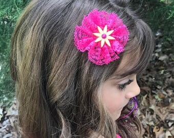 Hot Pink Lace Flower Hair Bow - Spring Hair Clips - Floral Hair for Spring