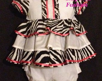 Baby girl dress, diaper cover, ready to ship, size 12-18 mos