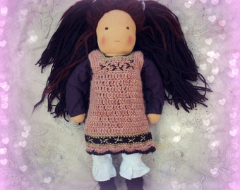 "Pure wool , crocheted doll's dress, to fit a 16"" Waldorf doll, pink, green and brown"
