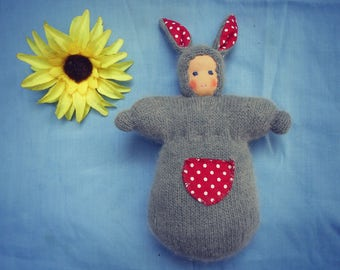 Pure wool and angora, polka dot print, waldorf doll, easter bunny snuggle pocket doll, all natural materials