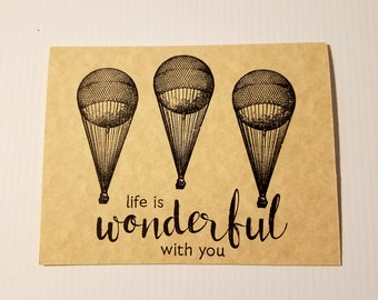 Handmade Birthday Card,  masculine birthday card,  for him, for men, masculine card, hot air balloon,