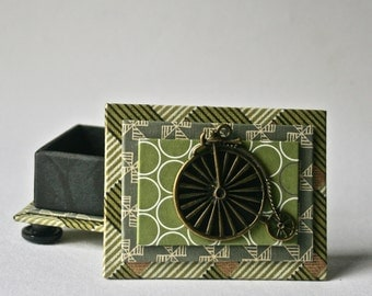 Gift Box in Greens and Black with Penny Farthing Bicycle for Gift and Decor