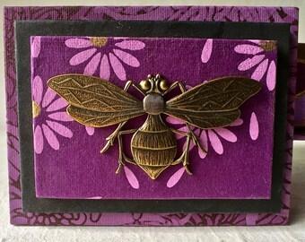 Deep Purple Handmade Gift Box with Bronze Bee