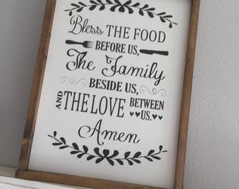 Large Wood Sign - Bless the Food Before Us The Family Beside Us and the Love Between Us Amen -  Framed Subway Sign - Farmhouse Sign