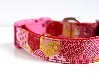 Floral Hemp Leaves Patchwork Dog Collar - Red, Pink- Pink Buckle