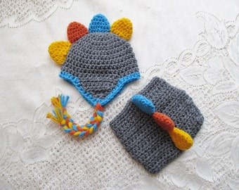 Baby Dinosuar Crochet Hat and Diaper Cover - ANY COLOR COMBINATION - Photo Prop - Available in 0 to 24 Months